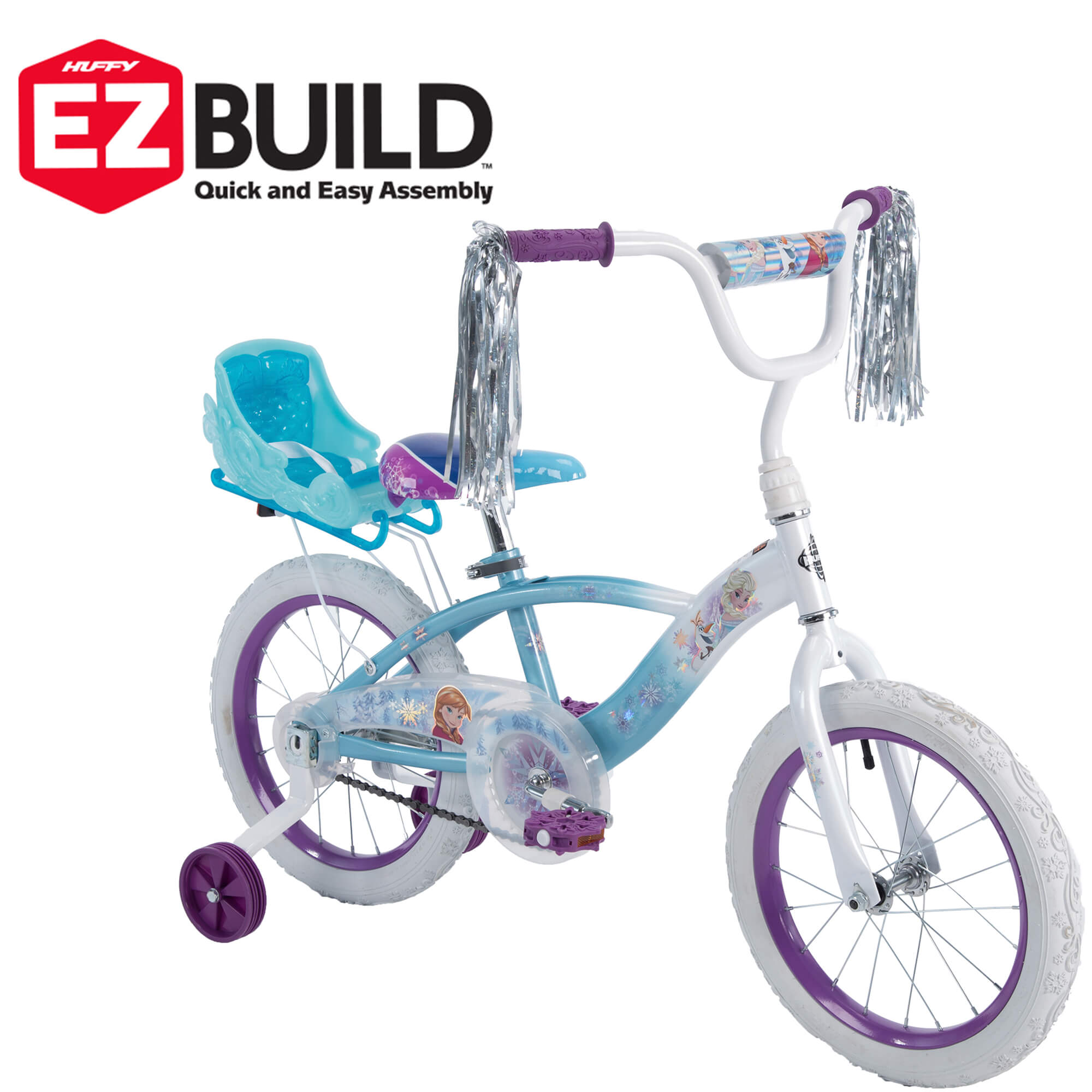 "Huffy Disney Frozen 16"" EZ Build Girls Bike with Sleigh Doll Carrier, White/Blue"