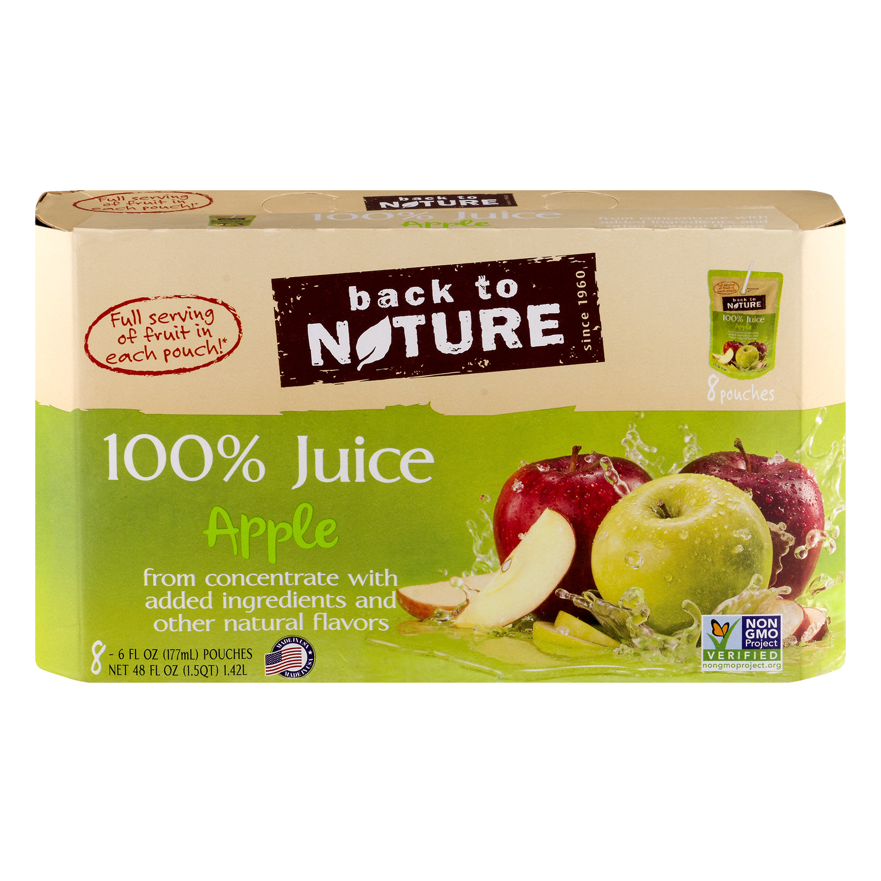 Back to Nature 100% Juice Pouches, Apple, 6 Fl Oz, 8 Count