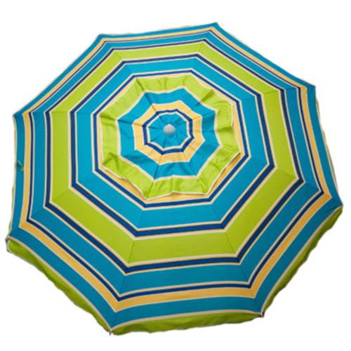 DestinationGear 7' Beach Umbrella Lime Stripe With Travel Bag