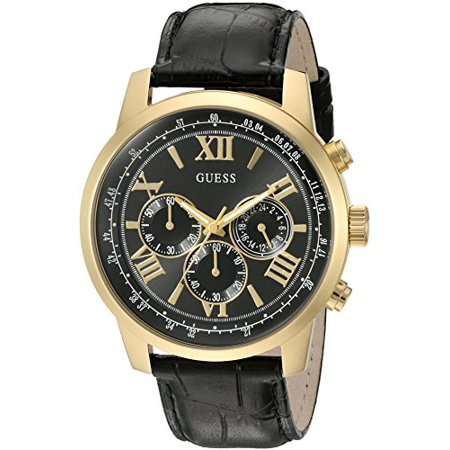 Dressy Leather Watch - Men's U0380G7 Dressy Stainless Steel Multi-Function Watch with Chronograph Dial and Genuine Leather Strap Buckle