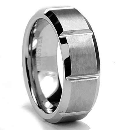 king will tungsten ring matte vertical groove 8mm tungsten wedding bands for men 11 - Tungsten Wedding Rings