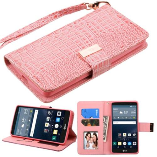 Insten Leather Crocodile Skin Cover Case with Lanyard For LG G Stylo - Pink