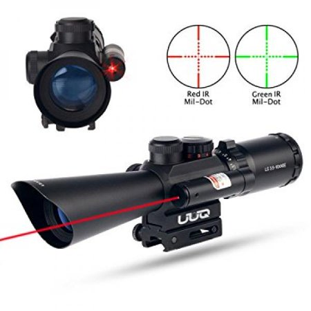 uuq tactical 3.5-10x40 illuminated red/green mil dot rifle scope w/ red laser sight fit 11/20mm picatinny rail (12 month
