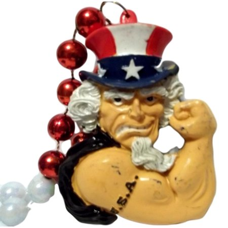 Uncle Sam USA Red White Blue Mardi Gras Beads Necklace Party Favor (Uncle Sam Party)