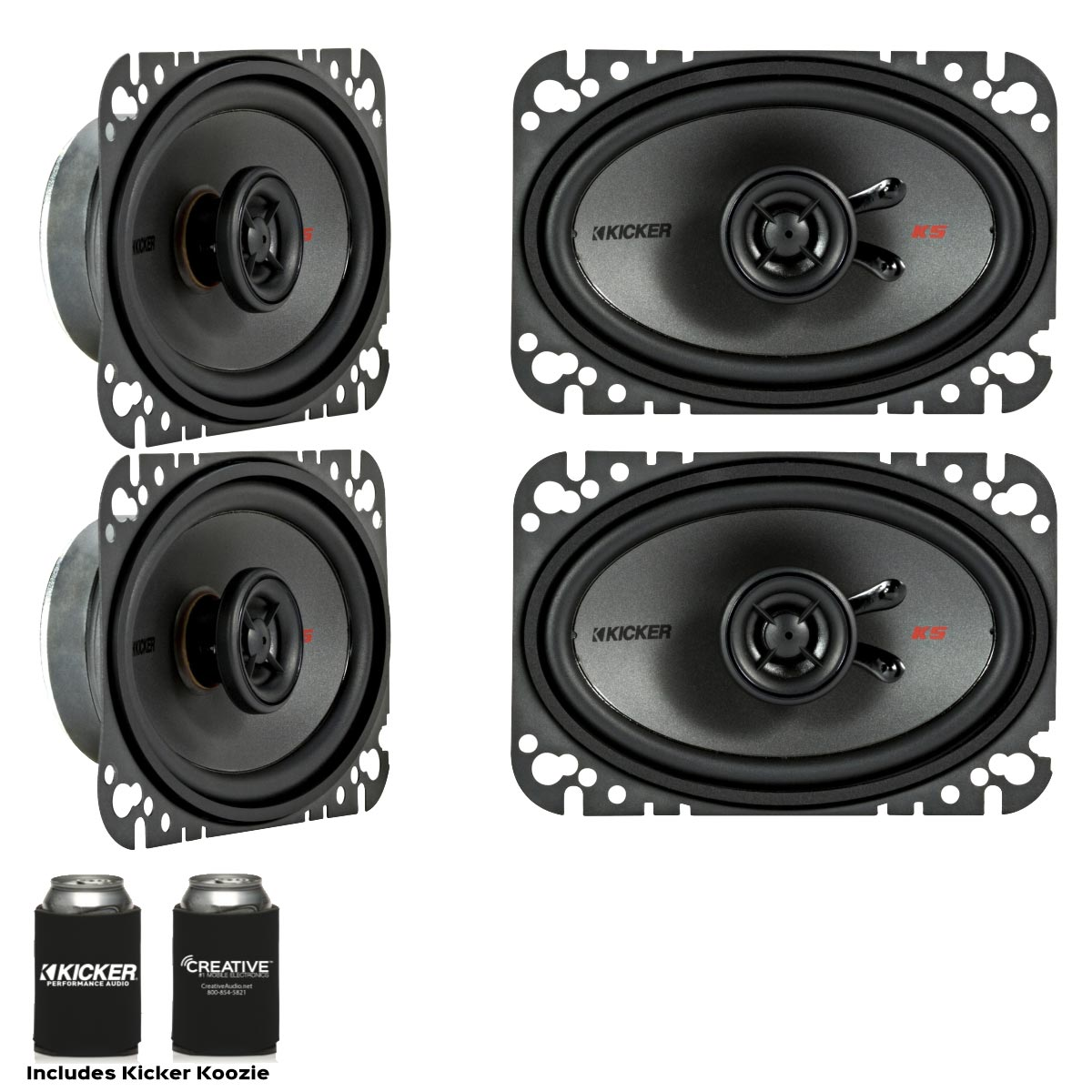 Kicker Speaker Bundle - Two pairs of Kicker 4x6 Inch KS-Series Speakers 44KSC4604