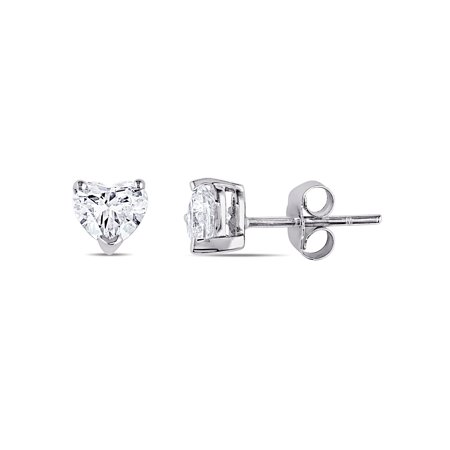 1 Carat T.W. Heart-Cut Diamond 14kt White Gold Solitaire Stud Earrings
