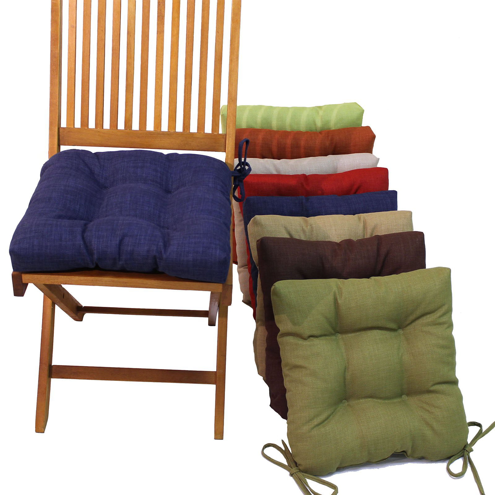 Blazing Needles 16 in. Square Outdoor Chair Cushions with Ties - Set ...
