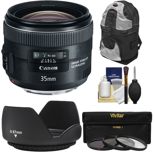 Canon EF 35mm f 2 IS USM Lens with Sling Backpack + 3 UV ND8 CPL Filters + Hood + Cleaning Kit for EOS 6D,... by Canon