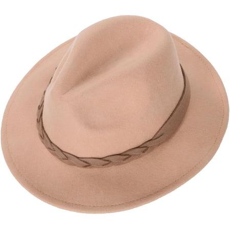 6ac306ec6b66b Simplicity - Simplicity Women s Wide Brim Wool Felt Fedora Hat with Braided  Band Camel - Walmart.com