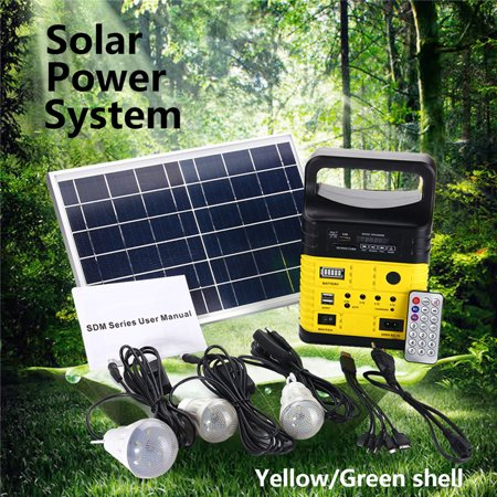 Portable Solar Panel Powered System Generator with 3 LED Light Bulbs Multi-functional Emergency Light USB Flashlight Source for Home Camping Travel Outdoor RV With Remote