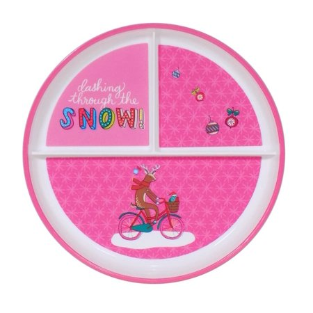 Childrens Christmas Divided Compartment Round Hard Plastic Pink Reindeer Plates, 2 Pack, By Target Ship from US