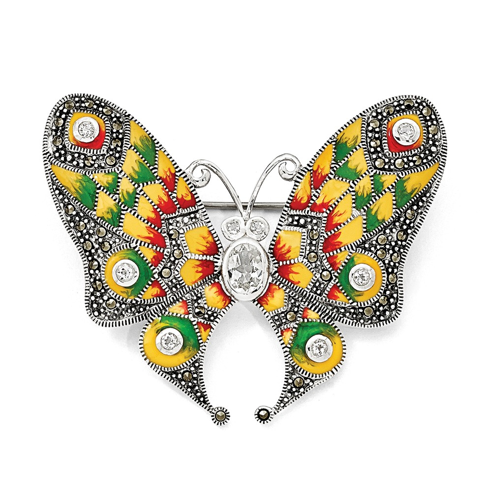 925 Sterling Silver Marcasite, Enamel and White Topaz Butterfly Pin by