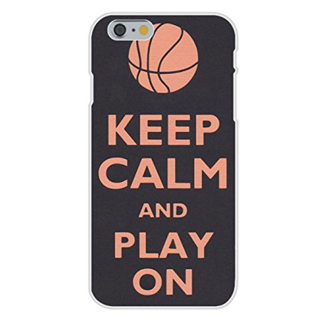 Apple iPhone 6+ (Plus) Custom Case White Plastic Snap On - Keep Calm and Play On - Basketball Snap