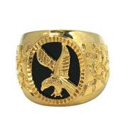 De Buman  14k Gold Overlay Eagle Black Agate Ring