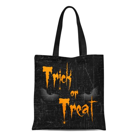 KDAGR Canvas Tote Bag Scary Halloween Eyes Creative Text of Trick Treat Reusable Shoulder Grocery Shopping Bags Handbag (Halloween Creative Treats)