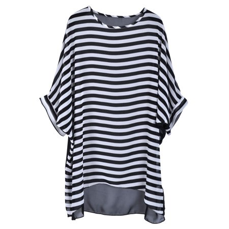 728ad9b37913b BASILICA - Simplicity Women's Black/White Stripe Chiffon Oversized Beach  Swimwear Cover-Up - Walmart.com