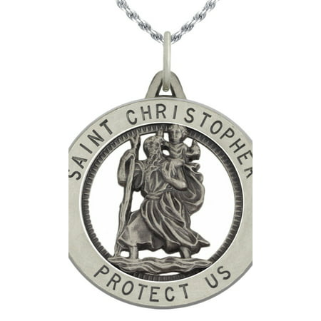 1.0in Round 0.925 Sterling Silver St Saint Christopher Medal Pendant Necklace
