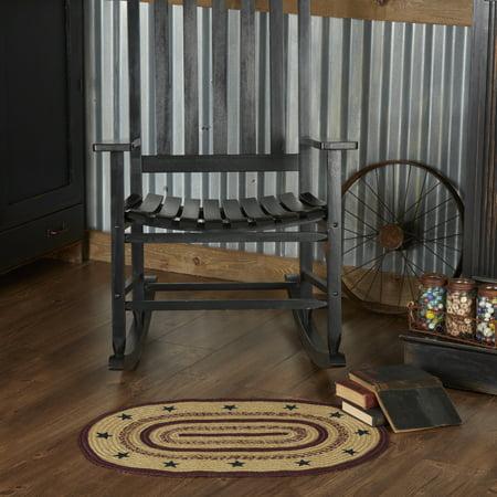Natural Tan Primitive Flooring Potomac Stars Jute Stenciled Star Oval Accent Rug