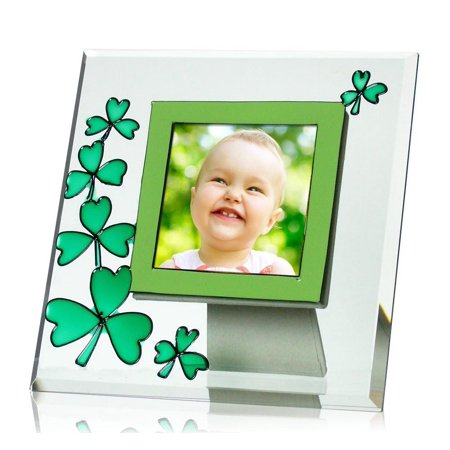 Irish Photo Frame Clear Beveled Glass Picture Frame with Green Stained Glass (Clear Beveled Glass)