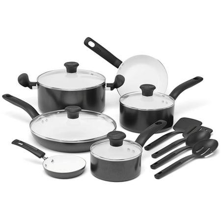Black Dishwasher Drawer - T-fal, Initiatives Ceramic, C921SE, PTFE-free, PFOA-free, Dishwasher Safe Cookware, 14 Pc. Set, Black