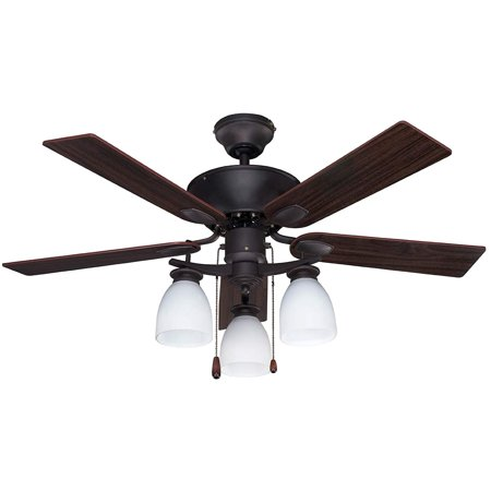 Canarm CF42NEW5ORB New Yorker Dual Mount 42-Inch Ceiling Fan with Flat Opal Light Kit and 5 Reversible Blades, Oil Rubbed Bronze Reversible Wood Blades