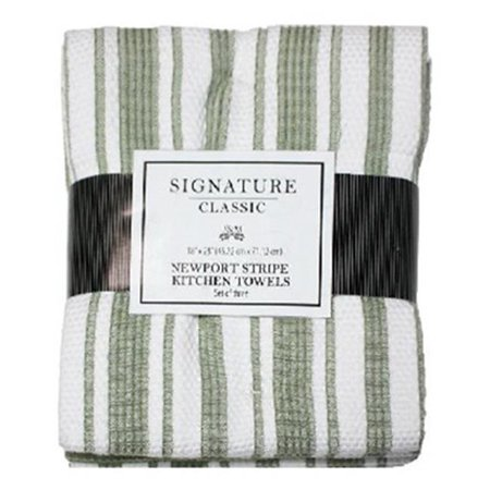 J & M Home Fashions 3537 18 x 28 in. Newport Sage Green Striped Kitchen Towels - 3 Pack, Pack Of 3 - image 1 of 1
