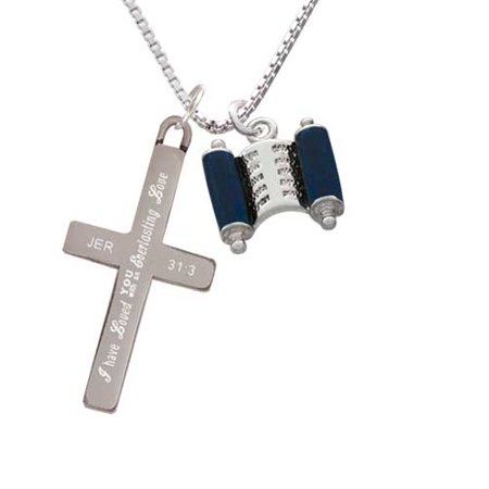 Blue Torah Scroll - Everlasting Love - Cross