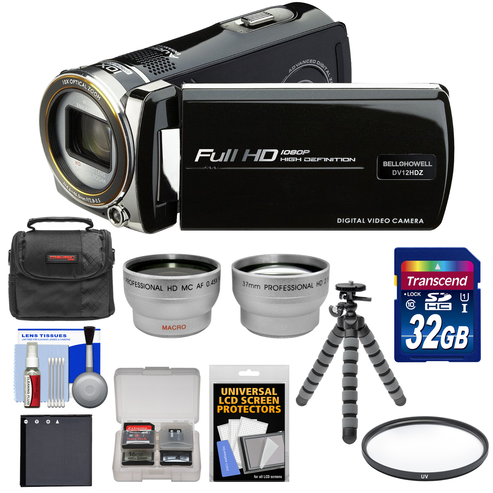 Bell + Howell Bell & Howell DV12HDZ 1080p HD Video Camera Camcorder (Black) with 32GB Card + Battery + Case + Flex Tripod + Filter + Tele / Wide Lens Kit