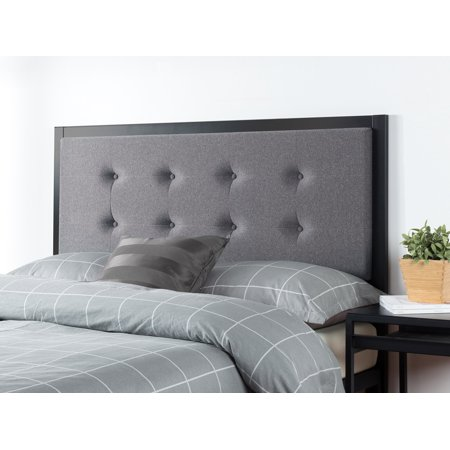 Zinus Barbara Button Tufted Grey Upholstered Metal Headboard, Multiple Sizes ()
