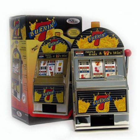 Trademark Burning 7's Slot Machine Bank with Spinning Reels, Coins you put in the front, will come out the bottom when you win By Trademark Global From USA