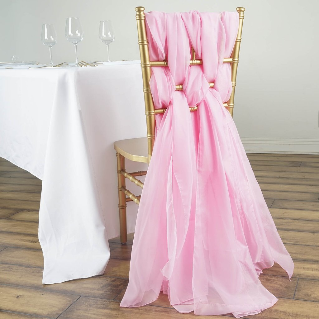 Efavormart 5 Pack 6 Ft DIY Premium Chiffon Designer Chair Sash for Wedding Banquet Decor Chair Bow Sash Party Decoration Supplies