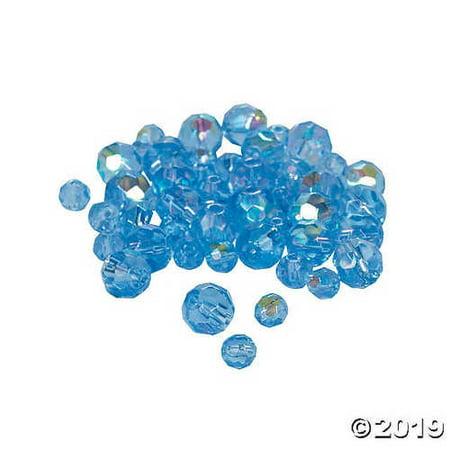 Blue Topaz Aurora Borealis Cut Crystal Round Beads - 4mm-6mm