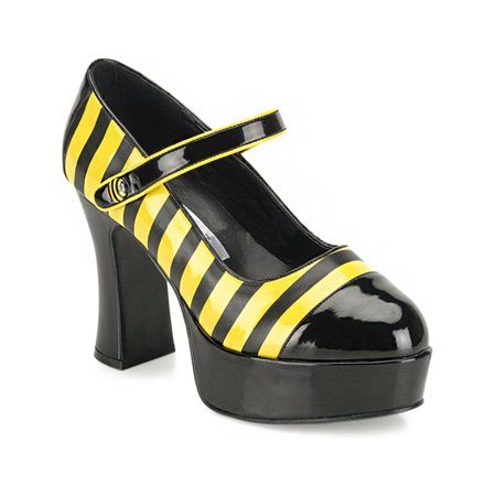 Womens Bumble Bee Shoes Halloween Costume Pumps Black Yellow Halloween Chunky - Bumble Bee Halloween Costume