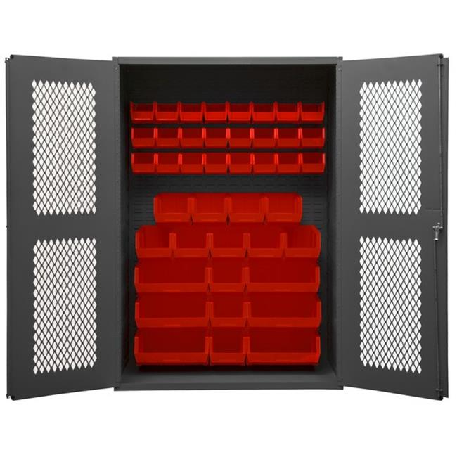 14 Gauge Flush Door Style Lockable Clearview Cabinet with 42 Red Hook on Bins, Gray - 48 x 18 x 72 in.