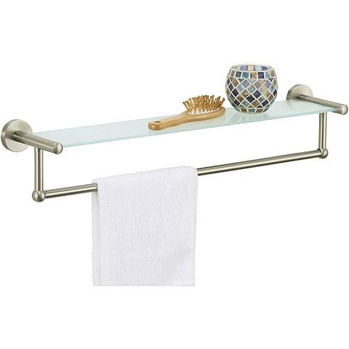 Satin Nickel Glass shelf with Towel Bar