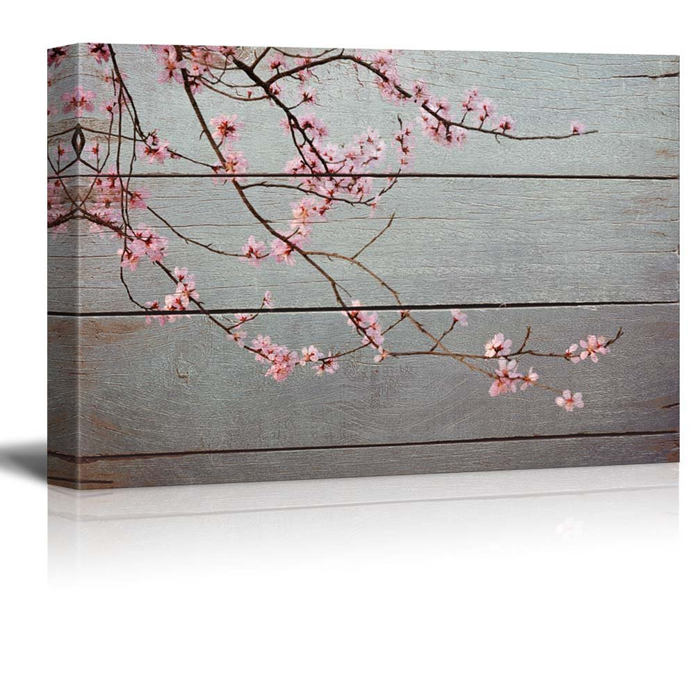 wall26 Sweeping Branch with Pretty Pink Blossoms - Rustic Floral Arrangements - Pastels Colorful Beautiful - Wood Grain Antique - Canvas Art Home Decor - 16x24 inches