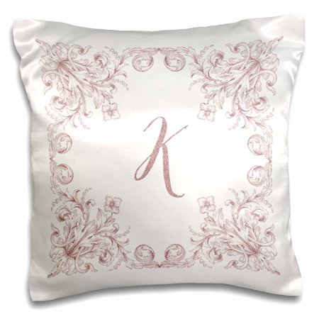 3dRose Letter K Personal Luxury Vintage Glitter Monogram-Personalized Initial - Pillow Case, 16 by 16-inch (Vintage Persol)