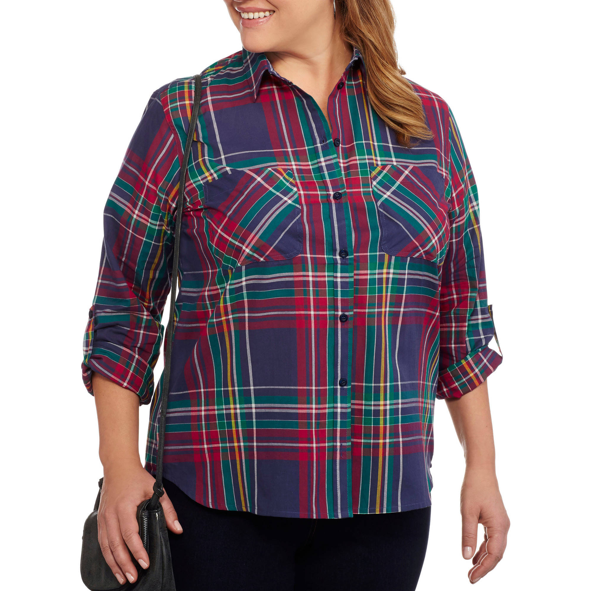Brooke Leigh Women's Plus Lightweight Plaid Blouse