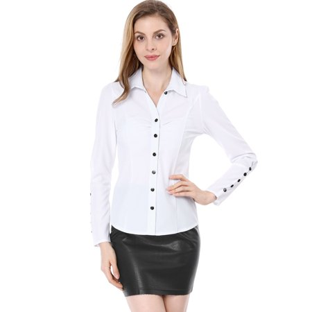 Unique Bargains Women Point Collar Button Closure Long Sleeves Casual Shirt White M - image 5 of 7