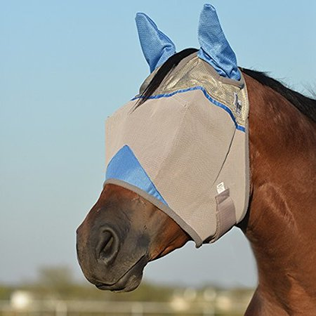 Cashel Crusader Standard Fly Mask with Ears and Blue Trim, Benefit Wounded Warriors - All Sizes []