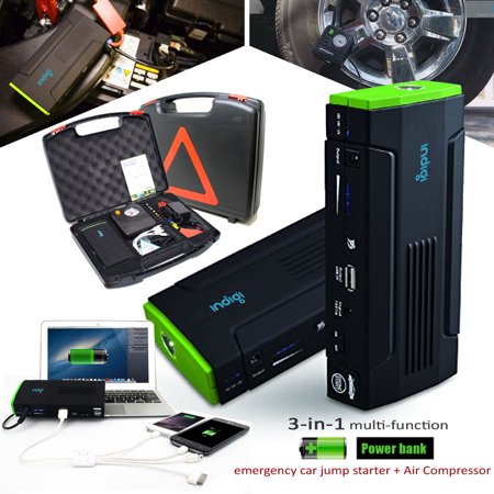 - Indigi® 12800mAh High Capacity Emergency Automotive Jump Starter w/ Hard Case + Tire Inflator Included + USB port