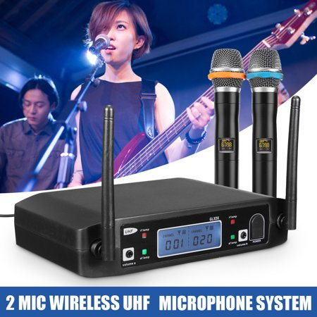 - GLXD8 LCD Professional 2 Channel UHF Receiver Wireless Karaoke Microphone System Microphone Systems with 2 Handheld Mics Cordless for Home Church, Business Meeting, Wedding