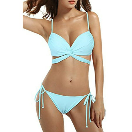 SAYFUT Best Summer Bikini Set Padded Swimsuit Top Triangle Bottom Bathing Suits for