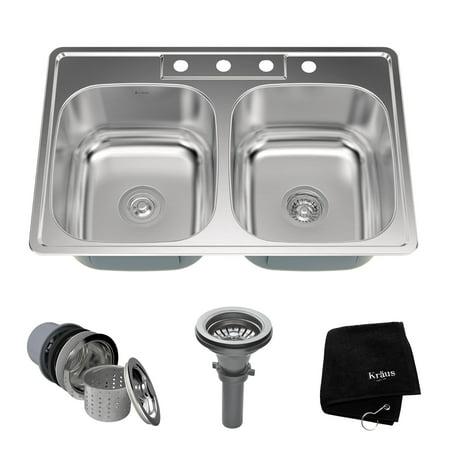 Bowl 18 Gauge Stainless Steel - KRAUS 33 Inch Topmount 50/50 Double Bowl 18 Gauge Stainless Steel Kitchen Sink with NoiseDefend™ Soundproofing