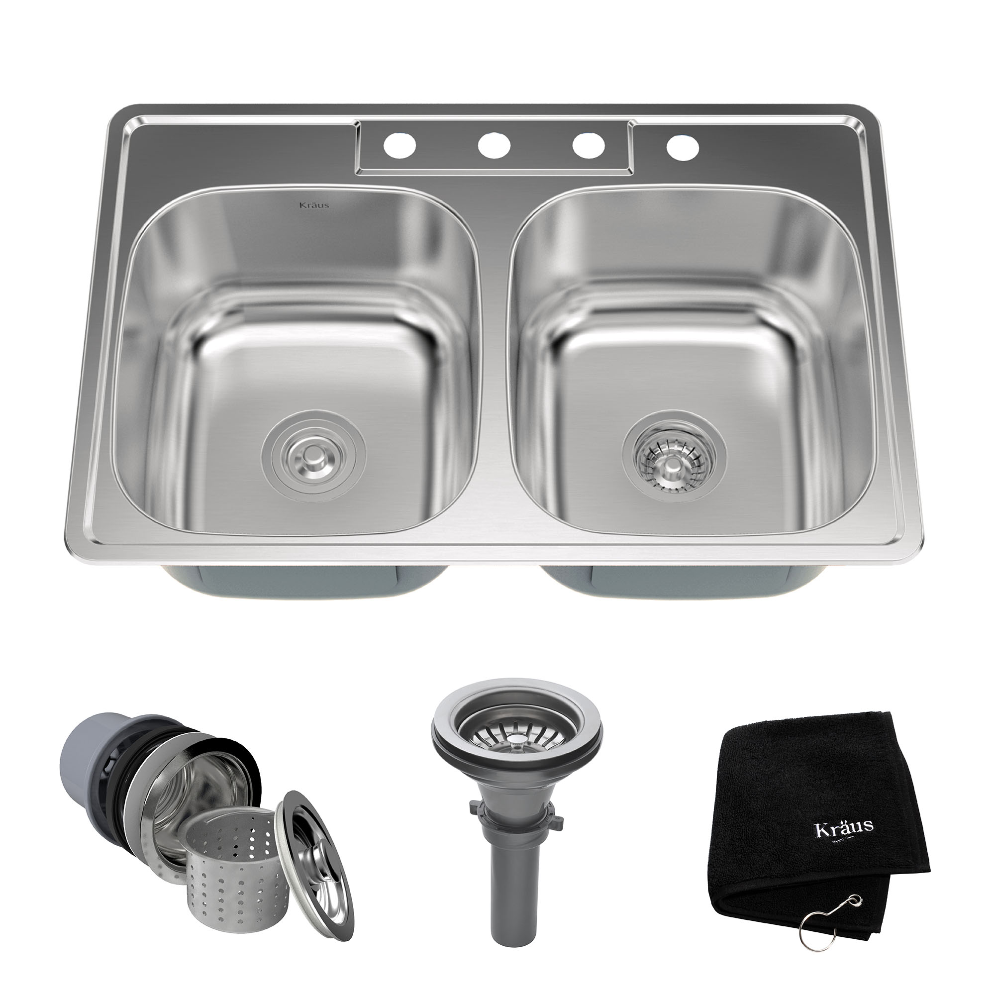 KRAUS 33 Inch Topmount 50/50 Double Bowl 18 Gauge Stainless Steel Kitchen Sink with NoiseDefend™ Soundproofing