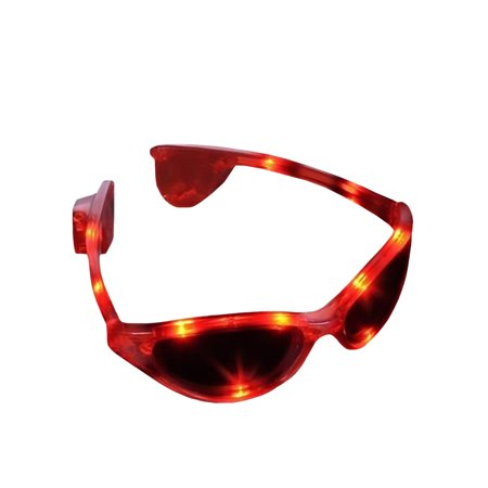 Fun Red Light Up Sunglasses Flashing Blinking Lights Shades Costume