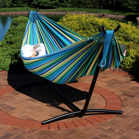Sunnydaze Extra Large Brazilian Double Hammock with Stand and Carry Bag, Max Weight: 400 Pounds, Sea (Large Brazilian Hammock)