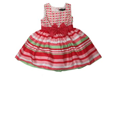 Big Girls Pink Green & White Striped Skirt Holiday Party Flower Girl Dress