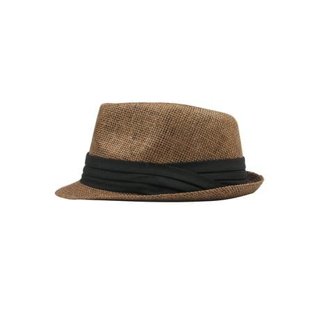 Fashion Men Women Straw Hat Contrast Ribbon Fedora Curly Brim Unisex Panama Jazz Trilby Hat Cap - image 3 de 5