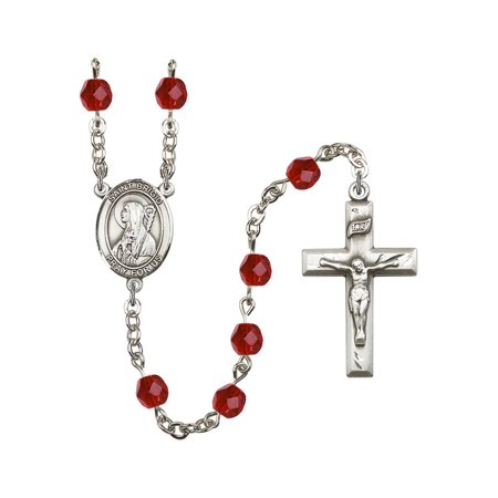 St. Brigid of Ireland Silver-Plated Rosary 6mm July Red Fire Polished Beads Crucifix Size 1 3/8 x 3/4 medal charm